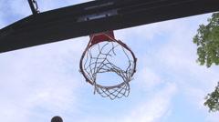 Underneath shot of basketball through a hoop - stock footage