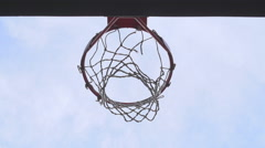 2 basketballs miss the net Stock Footage