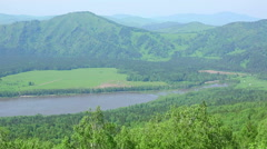 Summer landscape in mountains from cableway. Stock Footage
