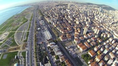 Stock Video Footage of High altitude Istanbul view. City scene over Maltepe.