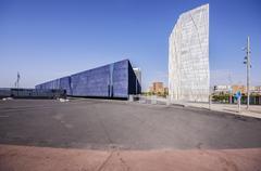 Telefonica building and Museu Blau Stock Photos
