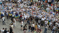 Scandalous songs to policy of Russia. Lviv, Ukraine. - stock footage