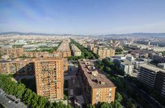 view on neighborhood Diagonal Mar i el Front Maritim del Poblenou - stock photo
