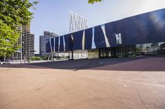 Telefonica building and Museu Blau - stock photo