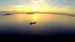High angle view over Marmara Sea at splendid sunset in Istanbul Stock Footage