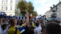 Dances and songs against Russia. Lviv, Ukraine. - stock footage