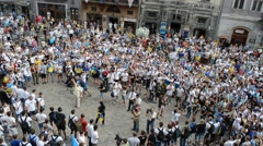 Type of a protest from above. Lviv, Ukraine. Stock Footage