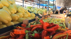Vegetables cabbage, tomato ,potato ,onion... market place store Stock Footage