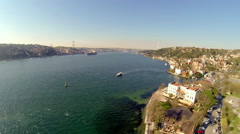 Aerial over Bosphorus Coastline in Istanbul, Turkey. Stock Footage