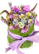Table decoration, present, flower arrangement Stock Photos