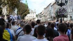 Protest of Ukrainians against Russia. Lviv, Ukraine. Stock Footage