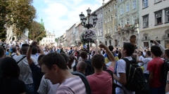 Ukrainians against the Russian aggression. Lviv, Ukraine. Stock Footage