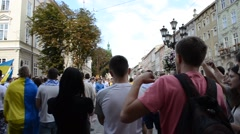 Political meeting with songs. Lviv, Ukraine. Stock Footage