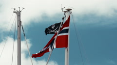 Flag of norway, blue sky Stock Footage