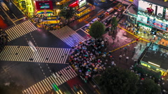 People with Umbrellas Cross Shibuya Intersection in Tokyo, Japan Stock Footage