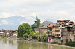 Mosques at Jahelum river in Srinagar, Kashmir Stock Photos