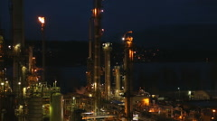 Oil Refinery Twilight Flare - stock footage