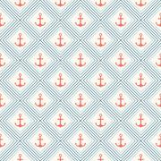 Seamless vector pattern of anchor shape and line Stock Illustration