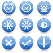 Blue 9 Alarm Bright Contrast icons vector illustration Stock Illustration