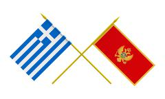 flags, montenegro and greece - stock illustration