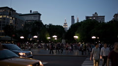 Union Square in Manhattan with Empire State Building in New York Stock Footage