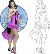 Retro brunette asian girl in violet and black with a gun Stock Illustration