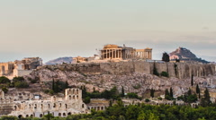 Parthenon temple on Athenian Acropolis, Athens, Greece - timelapse Stock Footage