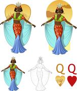 Queen of hearts afroamerican actress Mafia card set - stock illustration