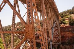orange metal bridge - stock photo