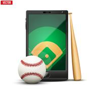 Smartphone with baseball ball and field on the screen. - stock illustration