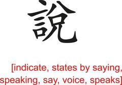 Chinese Sign for indicate, states by saying, speaking,say,voice Stock Illustration