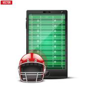 Smartphone with american football ball and field on the screen. - stock illustration