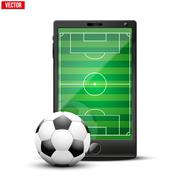 Smartphone with football ball and field on the screen. - stock illustration
