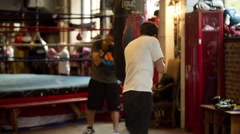 Boxer Training in Manhattan boxing gym in New York Stock Footage