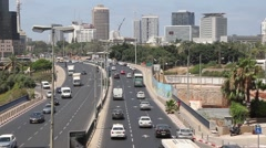 TEL-AVIV, ISRAEL - JULY 03, 2014: Traffic on street in Tel Aviv Stock Footage