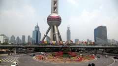 Shanghai, China, Oriental Pearl Tower in Pudong Stock Footage