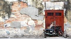 Famous Street Art Mural in George Town, Penang, Malaysia Stock Photos