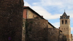Roman Walls and Tower of St. Isidore in Leon Stock Footage