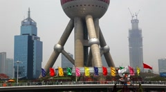 Shanghai, China, Shanghai, China, Oriental Pearl Tower in Pudong District Stock Footage