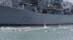 Bay ocean swimmers swimming race start 3 Stock Footage