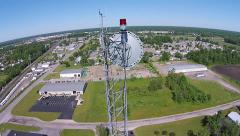 Tower Beacon and Microwave Dish Aerial View Stock Footage