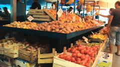 Market place potato,tomato,cherrys,peach,paprika,banana Stock Footage