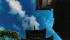 Night time lapse of a Japanese Buddhist temple with moon and clouds. Stock Footage