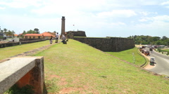 Pan shot of beautiful Galle fort. Stock Footage