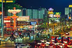 las vegas boulevard in the night - stock photo
