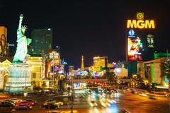 las vegas boulevard in the night - stock photo