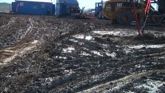 Muddy drilling rig site 2 Stock Footage