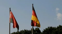 Belarusian and German flags Stock Footage