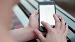Girl Using Google Maps on Smart Phone Stock Footage