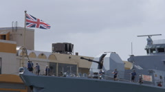 HMS ARGYLL british warship sailors working in bow Stock Footage